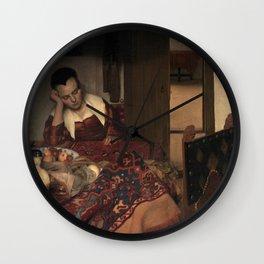 Johannes Vermeer - A Girl Asleep Wall Clock