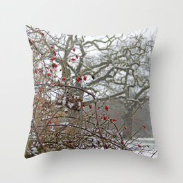 Winter berries and snow Throw Pillow