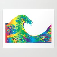 hokusai Art Prints featuring Hokusai Rainbow_A by FACTORIE