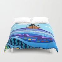 fishing Duvet Covers featuring Cat  Fishing by Cat Attack
