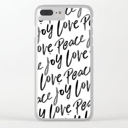 Peace Love Joy Brush Lettered Clear iPhone Case