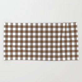 Gingham (Coffee/White) Beach Towel