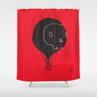hot air balloon Shower Curtains featuring Hot Air Balloon Skull by Fupete Art