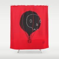 hot air balloon Shower Curtains featuring Hot Air Balloon Skull by Teller & K (former Fupete)
