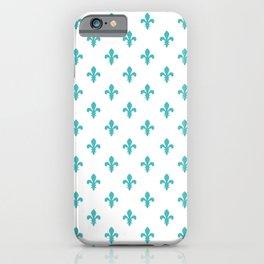 Fleur-de-Lis (Teal & White Pattern) iPhone Case