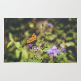 Butterfly on the wild flowers Rug