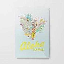 Aloha, Hawaii (Blue) Metal Print