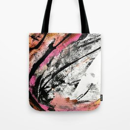 Motivation: a colorful, vibrant abstract piece in pink red, gold, black and white Tote Bag
