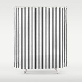 Black and White English Rose Trellis in Mattress Ticking Stripe Shower Curtain