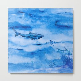 Great white in blue Metal Print