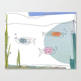 3 Fishies Swimming Under the Ocean Canvas Print