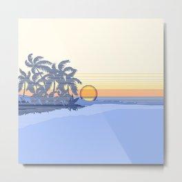 Big Sunset Hawaiian Surfer Striped Scenic Metal Print