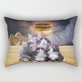 space cats looking for the burger Rectangular Pillow