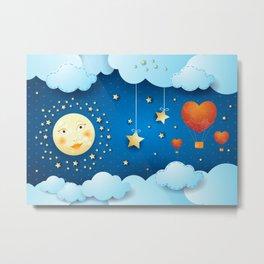 Valentine night with full moon Metal Print