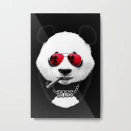 Panda Boss Black Metal Print