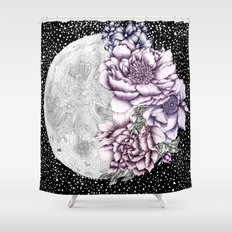 Moon Abloom II Shower Curtain