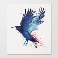 crow Canvas Prints featuring Bloody Crow by Robert Farkas