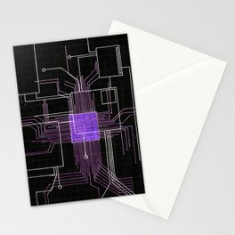 Circuit board purple Stationery Cards
