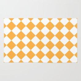 Diamonds - White and Pastel Orange Rug