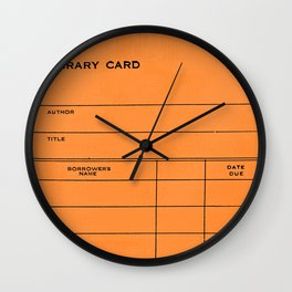 Library Card BSS 28 Orange Wall Clock