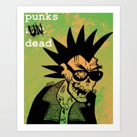 ramones Art Prints featuring Punks Undead by alex CADY