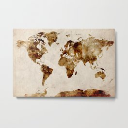 WORLD Coffee painting Metal Print