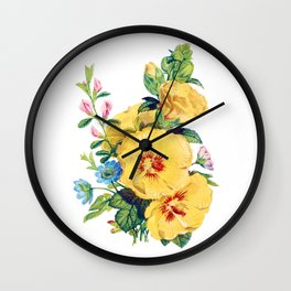 Two large Yellow Flower, Antique Heirloom Flower Bouquet Original Aquatint Watercolor PNG 8 Wall Clock