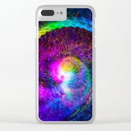 Spiral tie dye light painting Clear iPhone Case