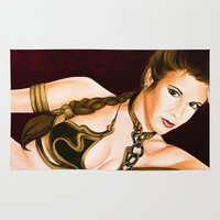 leia Area & Throw Rugs featuring Slave Leia  by Rexifist Art