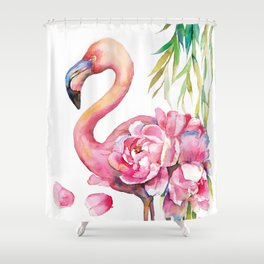 Pink Flamingо with Peony Wings Shower Curtain