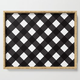 Contemporary Black & White Tilt Gingham Pattern - Mix & Match With Simplicty Of Life Serving Tray