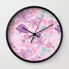 Purple Japanese pond florals Wall Clock