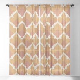 Orange Flower Pattern Sheer Curtain