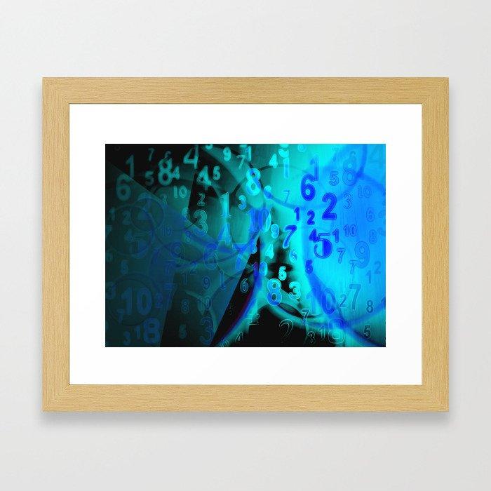 Blue Digital Numbers Framed Art Print