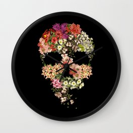 Skull Floral Decay Wall Clock