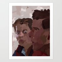 marty mcfly Art Prints featuring Marty & George McFly by Lee_B