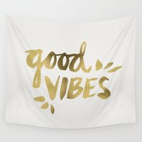 india Wall Tapestries featuring Good Vibes – Gold Ink by Cat Coquillette