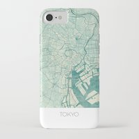 vintage map iPhone & iPod Cases featuring Tokyo Map Blue Vintage by City Art Posters