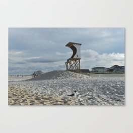 Lifeguard Stand and Seagull / Wrightsville Beach, NC Canvas Print