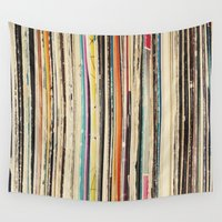 cassia beck Wall Tapestries featuring Record Collection by Cassia Beck