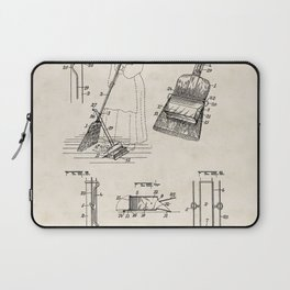 Dust Pan Attachment for Brooms Vintage Patent Hand Drawing Laptop Sleeve