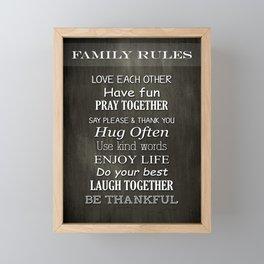 Family Rules Framed Mini Art Print