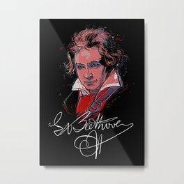 Beethoven-Pop Art-Portrait-Classical Music-Piano Metal Print