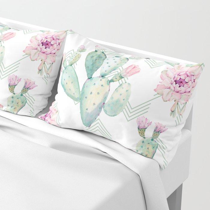 Cactus Chevron Southwestern Watercolor Pillow Sham