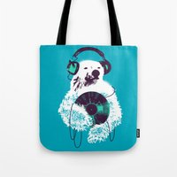 record Tote Bags featuring Record Bear by Picomodi