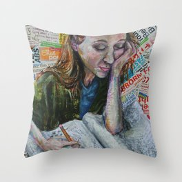 Diary Girl Throw Pillow