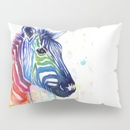Zebra Rainbow Watercolor Whimsical Animal Pillow Sham