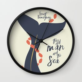 The old Man and the Sea, Ernest Hemingway book cover illustration, adventure novel Wall Clock