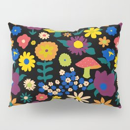 60's Country Mushroom Floral in Black Pillow Sham