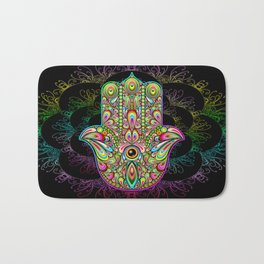 Hamsa Hand Amulet Psychedelic Bath Mat